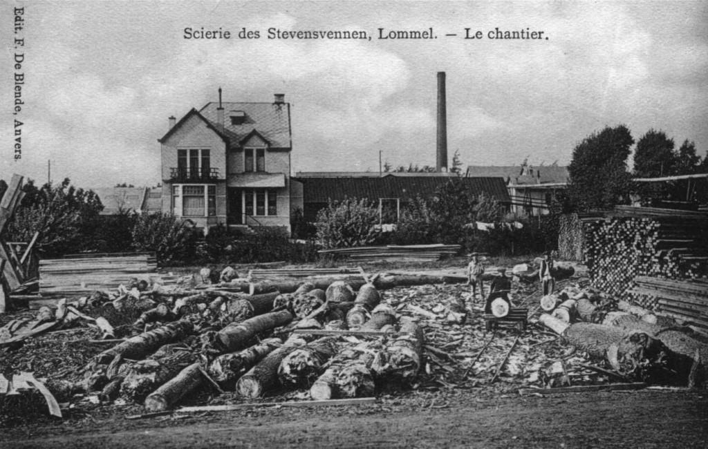 De elektrische houtzagerij en -schaverij op Stevensvennen net voor de oorlog.