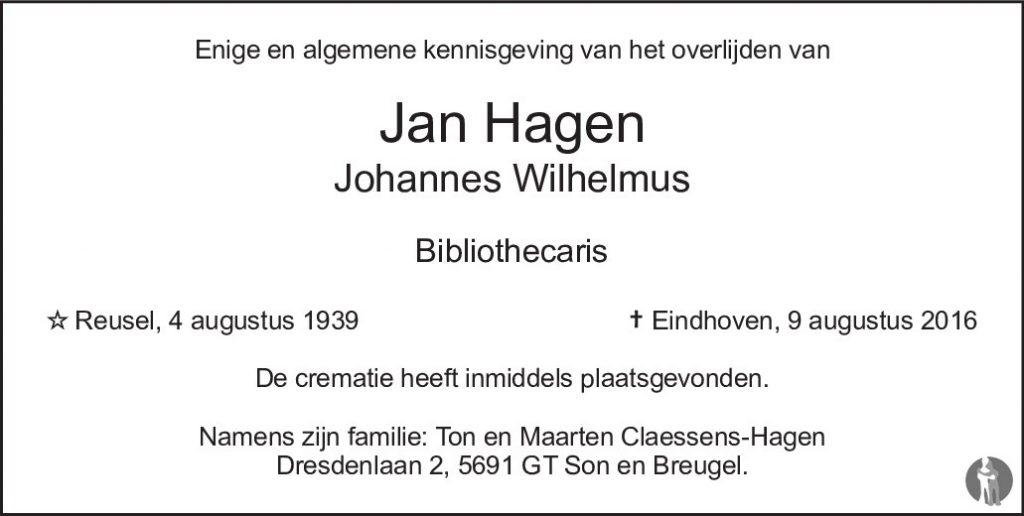 Overlijdensbericht Jan Hagen